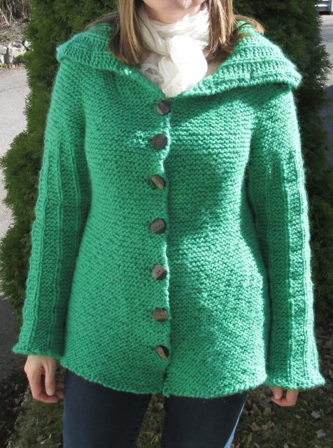 Jacket knitted in super bulky yarn.